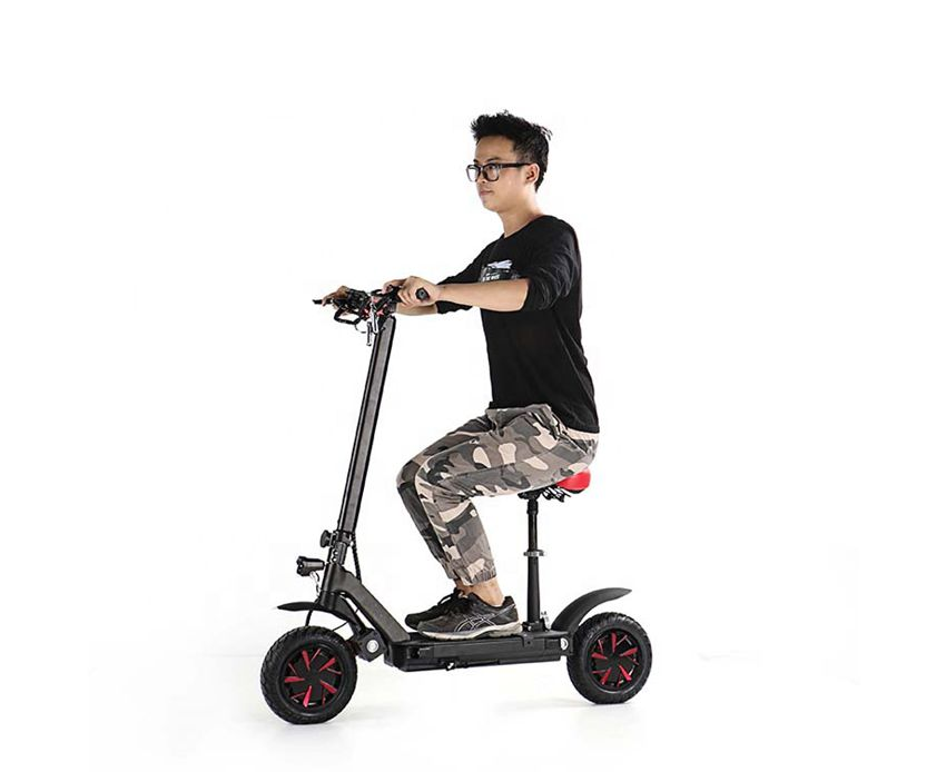 EcoRider E4-9 Dual Motor Electric Scooter Foldable Kick Scooter with Seat